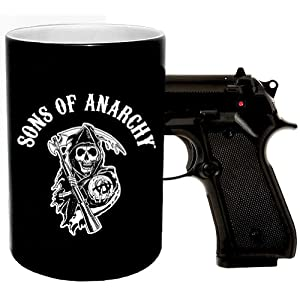 Sons of Anarchy Gun Coffee Mug with Reaper Logo and Pistol Grip