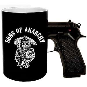 Sons of Anarchy Gun Handle Coffee Mug Grim Reaper Logo Motorcycle SAMCRO SOA FX