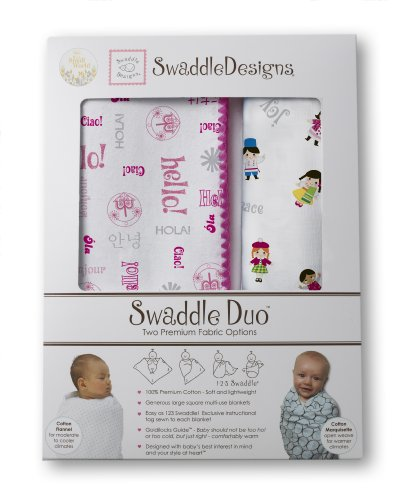 Swaddledesigns Swaddle Duo Disney It'S A Small World Receiving Blanket, Very Berry