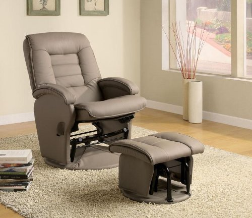 Coaster Swivel Glider Recliner & Ottoman - Beige Leather front-209224