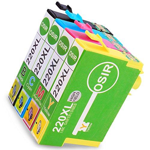 OSIR T220XL/220 Ink Cartridge For Epson WorkForce WF-2630 WF-2650 WF-2660 Expression XP-320 XP-420 XP-424 (1 Black, 1 Cyan, 1 Magenta, 1 Yellow)