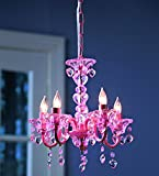 """HearthSong """"Crystal"""" Hearts Chandelier for Kids' Rooms, in Pink"""