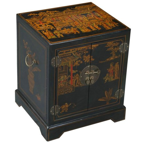 Cheap EXP Handmade Oriental Furniture – 24″ Antique Style Black Leather Mandarin End Table / Nightstand (B0027WCN68)
