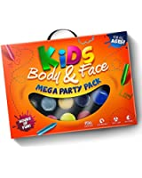 24 Piece *Mega Value* Face Paint, Body Paint & Glitter Party Pack. (Everything You Need in One Kit!) 100% Child Safe (FDA Approved) + Money Back Guarantee!