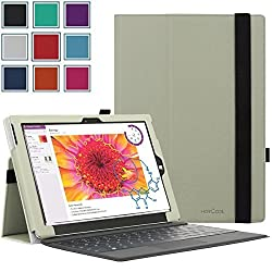 Microsoft Surface 3 Case - HOTCOOL Slim New PU Leather Folio with Stylus Holder Cover Case For 10.8 Inches Microsoft Surface 3 Windows 8.1 Tablet(Will not Fit 12.1 Inches Surface Pro 3), White