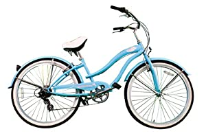 "New Micargi 26"" 7 Speed Ladies Bike Beach Cruiser Bicycle Rover Baby Blue"