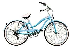 "New Micargi 26"" 7 Speed Ladies Bike Beach Cruiser Bicycle Rover Baby Blue"