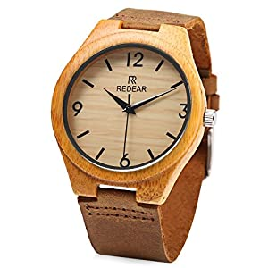 REDEAR Mens Bamboo Quartz Watch Leather Strap Wooden Analog Waterproof Wristwatch (Brown)