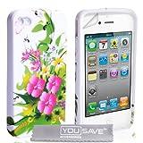 """iPhone 4 / 4S Tasche Rosa Und Gelb Blumen Silikon H�llevon """"Yousave Accessories�"""""""