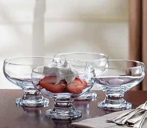 4 Piece Set Essentials Home Footed Glass Dessert Dishes Bowls