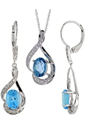 14k White Gold Dangle Earrings (19mm tall) & 18 in. Pendant-Necklace Set, w/ 0.20 Carat Brilliant Cut Diamonds & 3.64 Carats Oval Cut (7x5mm) Blue Topaz Stones