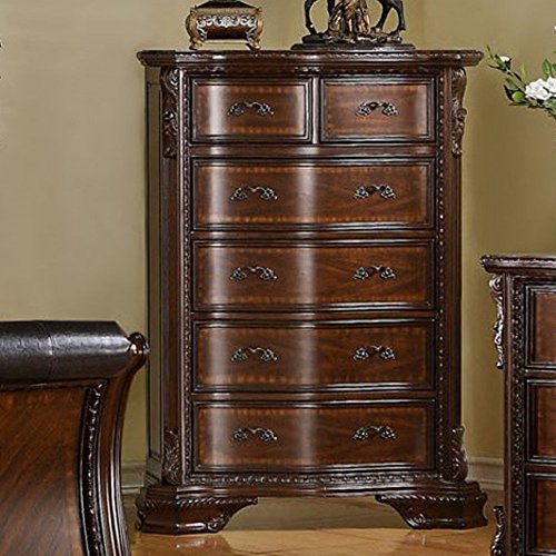 Furniture Of America Atencia Reen Traditional 6 Drawer Chest - Dark Walnut, Brown, Wood front-751567