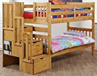 Cloudseller Staircase bunk beds with 3 drawer storage in waxed pine