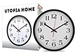 Large Indoor/Outdoor Decorative Silver Wall Clock - Universal Non - Ticking & Silent 12-Inch Wall Clock - by Utopia Home (Black)