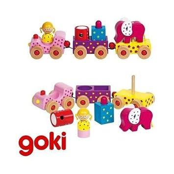 Goki - Train multi-activités formes à emboîter Jouet d'éveil en bois Enfant 2 ans +