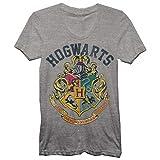 Harry Potter Juniors Hogwarts Crest Heather T-Shirt Grey (Medium)