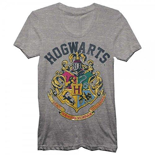 Harry Potter Juniors Hogwarts Crest Heather T-Shirt Grey (X-Large)
