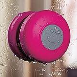 HDE Portable Waterproof Mini Bluetooth Shower Pool Speaker w/ Suction Mount & Handsfree Calling - Pink