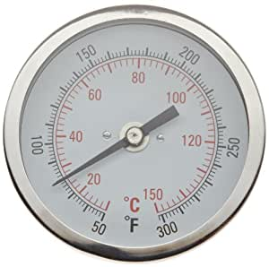 "H-B Instrument 21610 Durac Bi-Metallic Dial Thermometer, 1/2"" NPT Threaded Connection, 50 to 300° F/10 to 150 ° C, 3""/75mm Dial Diameter, 2.4""/62mm Probe Length, 2° Graduations"
