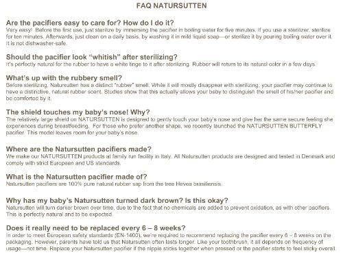 Natursutten BPA-Free Natural Rubber Pacifier, Orthodontic, 0-6 Months