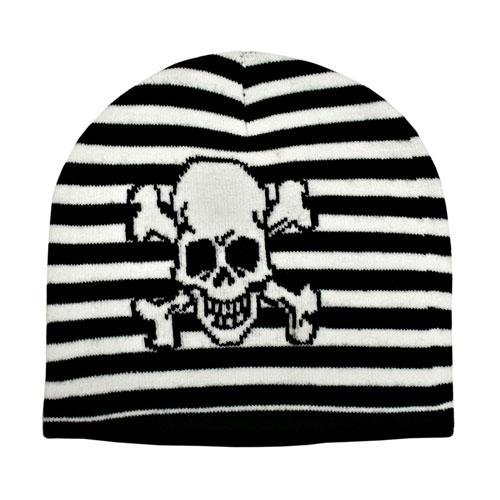 Striped Black & White Beanie Skull Bones Knit Cap