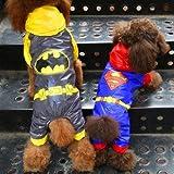 雨が降ってもへっちゃら!スーパーマン 風 レイン コート パーカー ドッグウェア 犬 服 散歩 お出かけ エチケット 袋 付 (3号(M))