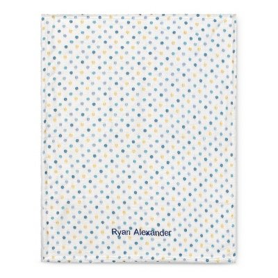 Personalized Blue Multi Dot Blanket front-489668