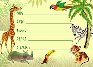 Dolce Mia Jungle Animals Safari Birthday Party Invitations Party Pack - 8 cards