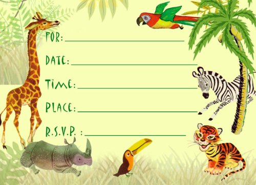 Best Buy! Dolce Mia Jungle Animals Safari Birthday Party Invitations Party Pack - 8 cards