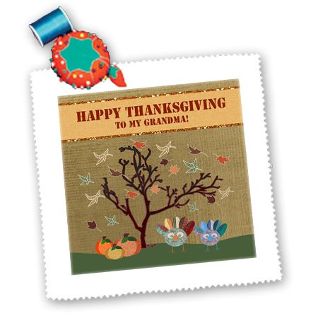 Qs_167426_5 Beverly Turner Thanksgiving Design - Turkeys, Leaves And Pumpkin, Happy Thanksgiving To Grandma - Quilt Squares - 14X14 Inch Quilt Square front-388637