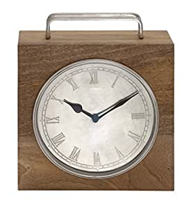 Deco 79 wood metal square table clock 10 by 12 inch for 12 inch square table