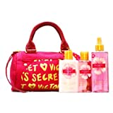 Victoria's Secret Garden Ravishing Love Deluxe Dark Red Monogram Bag Gift Set