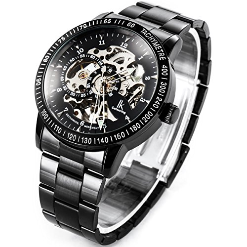Alienwork IK mechanische Automatik Armbanduhr Skelett Automatikuhr Uhr schwarz Edelstahl 98226G-A 4