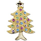 Golden Decorative Christmas Tree Brooch Gifts