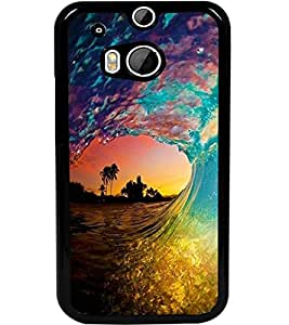 ColourCraft Beautiful Water Waves Design Back Case Cover for HTC ONE M8