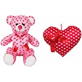 Deals India Valentine Pink Heart Teddy - 35 Cm And Valentine Red Love Ribbon Heart - 35 Cm