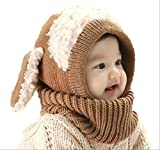 【On Dolce】選べる5色 うさぎちゃん風 ニット帽 ニット帽子 ベビー キッズ 赤ちゃん 子 子供 用 かわいい 防寒 BN005 (ブラウン)