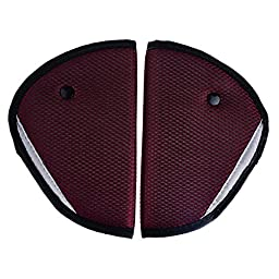 Pinksee Baby Kids Car Safety Cover Strap Adjuster Pad Harness Children Seat Belt Clip Pack of 2 (Wine red)
