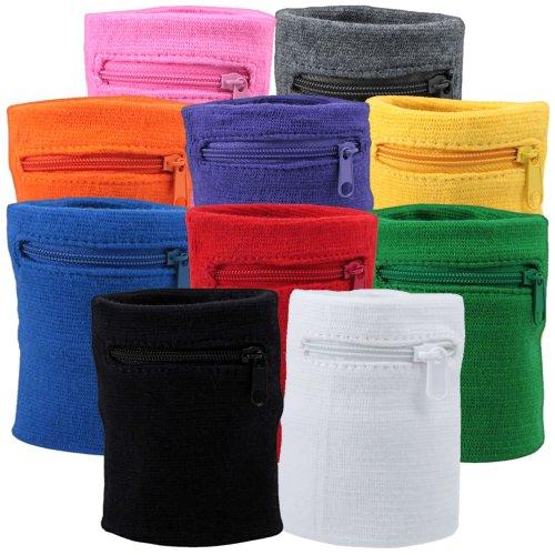 Suddora Multi Colored Zipper Sweatband Wristband