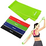 Yoassi Fitnessband 150 × 15 cm mit 4er-Set Widerstand-Bänder in 4 Zugkraftstärken Trainingsbänder aus 100% Naturlatex