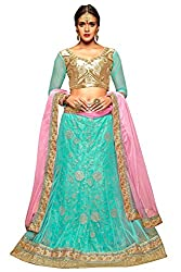 Manvaa Women Net Lehenga Choli(Blue_ASMMTZ7001B_Free Size)