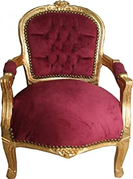 Casa Padrino Baroque chair Bordeaux / Gold - Armchair - Antiuk style furniture