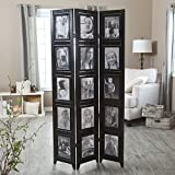 Finley Home Memories Double Sided Photo Frame Room Divider - 3 Panel - 8 x 10, Black, Fabric