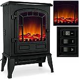 Elektro-Kamin-mit-Heizung-und-Kaminfeuer-Effekt-2000W-schwarz-wei-Flammeneffekt-Flammenambiente-Ofen