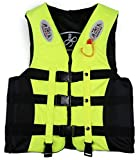 7Trees 3-Buckle Life Jacket with Whistle & Crotch Straps, For Teenagers & Adults Weighing 40 - 60 KG. Color- Neon Yellow