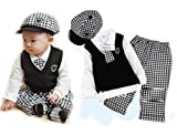 SOPO Baby Boy Cute Formal Wear 5 Pc Set Hat, Tie, Vest, Shirt, Plaid Pants 1-3Y