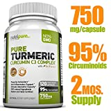 PREMIUM Pure Turmeric Curcumin Features C3 Complex® (750mg) w/ BioPerine®,120 (or 2-Month) Vegi Capsules, 95% Curcuminoids, Maximized Absorption, cGMP Compliance, Patented Herbal Supplement, Non-GMO, 100% Natural, Zero Fillers/Binders/Preservatives/Artificial Ingredients, Kosher & Halal Certified, 100-Day 100% Satisfaction Guarantee