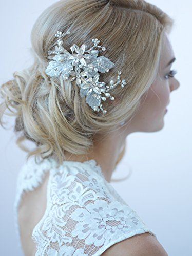 USABride Wedding Hair Comb Clip Shimmer Leaves Fresh Water Pearls Bridal Hair Headpiece AccessoryTC-2270 (Bridal Head Comb compare prices)