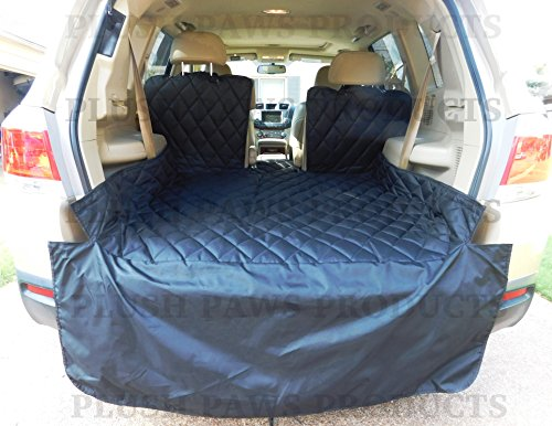 Plush Paws Waterproof Cargo Liner, Bumper Flap, Machine Washable, Durable - Regular Size Black (2014 4runner Cargo Cover compare prices)