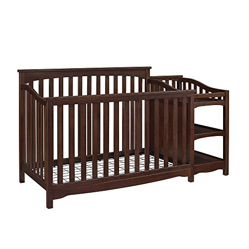 Dorel Asia Bailey Convertible Crib with Side Changing Table Set with Wood in Espresso Finish, Dark Brown